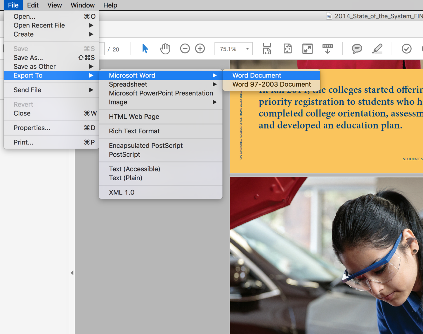 Screenshot of the Export To option from Adobe Acrobat.