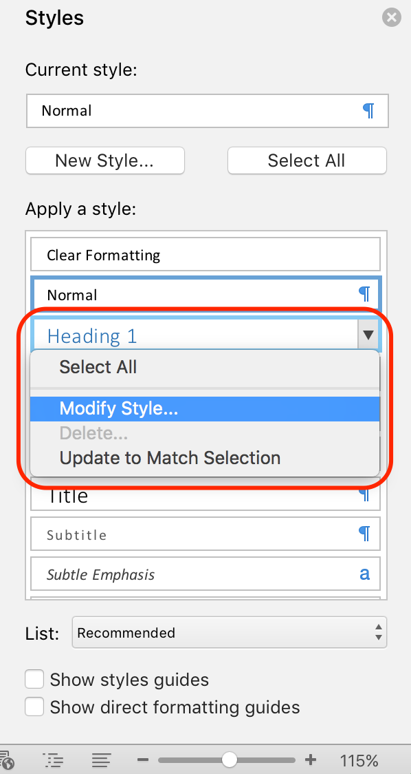Screenshot of MS Word Styles Panel to modify heading styles.