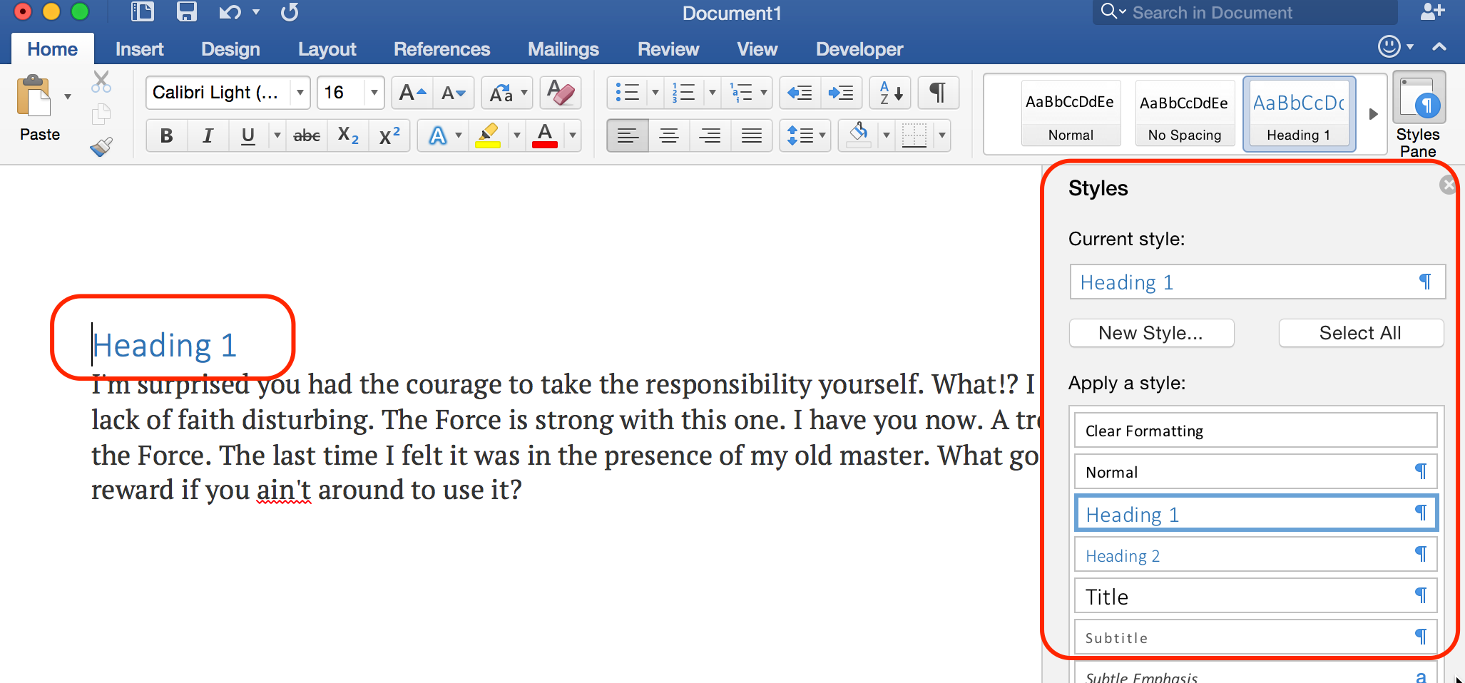 Screenshot of MS Word for Windows Style Panel for headings.